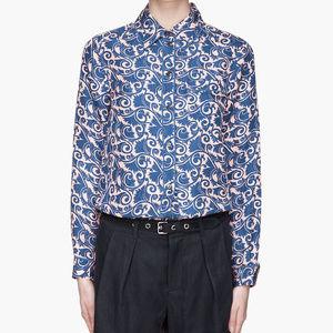 Marc Jacobs MBMJ Printed Silk Button Blouse Blue
